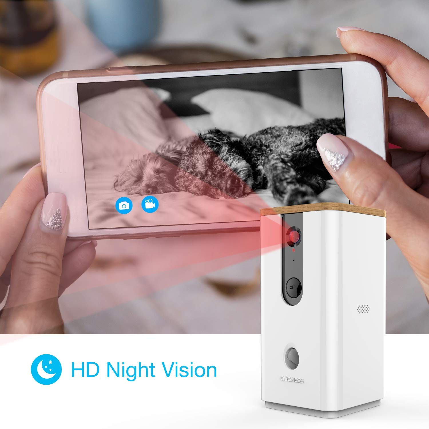 Vbroad Smart Pet Camera Treat Dispenser, WiFi Remote Camera Monitor 720P HD Night Vision Video with 2-Way Audio Designed for Dogs and Cats, Home Safety Pet Monitor (Android/iOS) by Vbroad (Image #4)