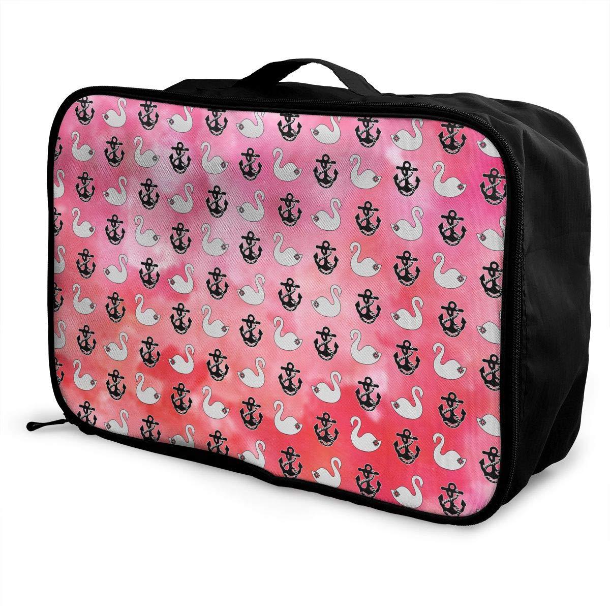 Travel Luggage Duffle Bag Lightweight Portable Handbag White Swan Black Anchor Pattern Large Capacity Waterproof Foldable Storage Tote