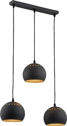 Lámpara de techo de 3 focos Oro Negro vers etzt de la ...