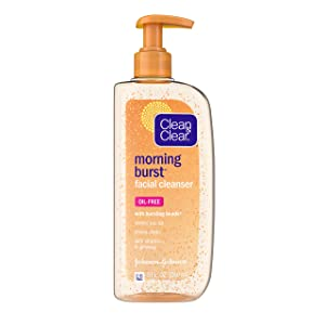 Clean & Clear Morning Burst Oil Free Facial Cleanser with Brightening Vitamin C, Ginseng, and Bursting Beads, Gentle Daily Face Wash for All Skin Types, Vitamin C Brightening Facial Cleanser, 8 oz