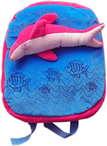 Punyah Creations Dolphin School Bag Soft Toy (Blue Pink)