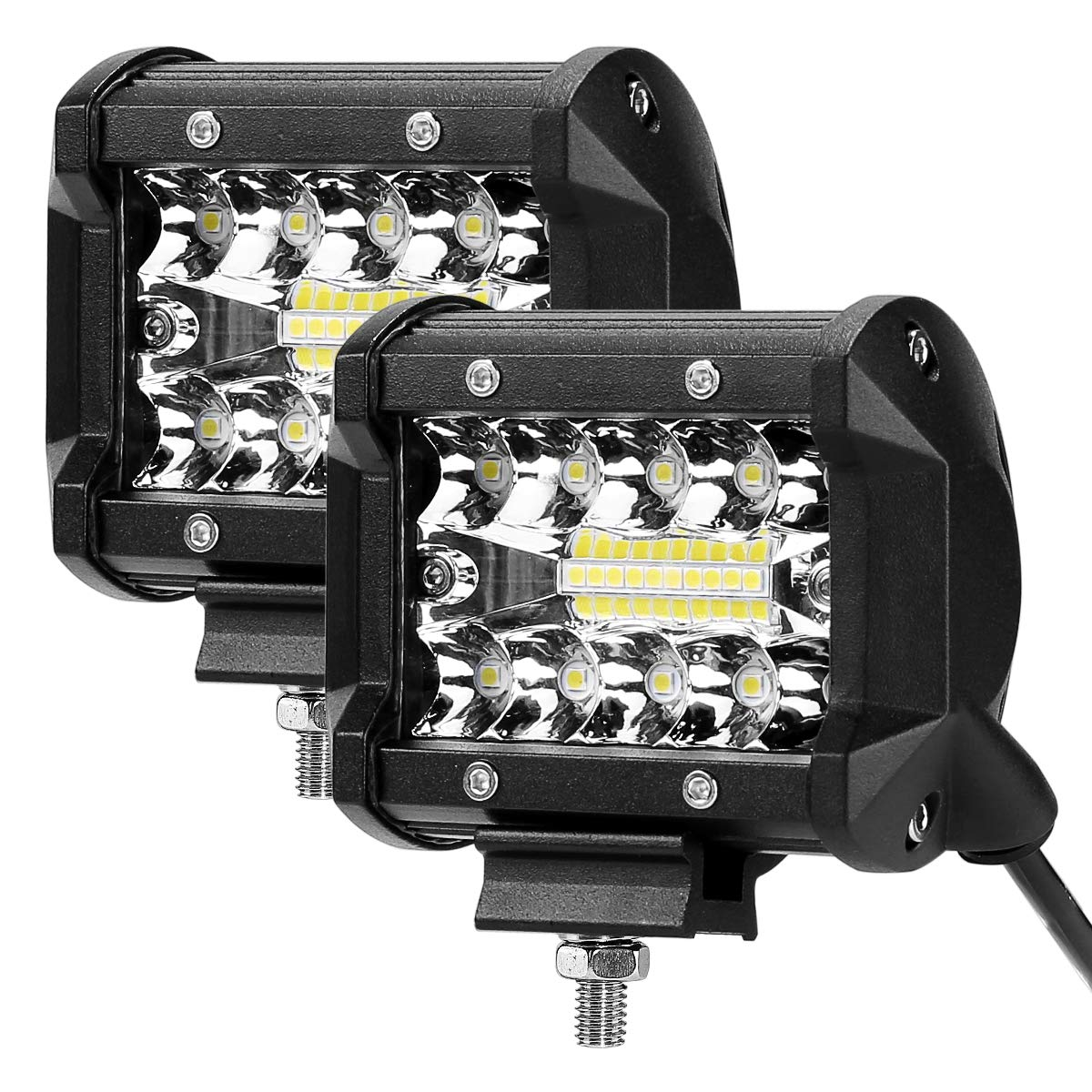 LE 2 Fari LED 60W x 2, fascio di luce combinato, Proiettore Fendinebbia Impermeabile IP68, 9600lm, 6000K per per Fuoristrada Macchina Barca Camper Mezzi pesanti Trattore Caravan Lighting EVER