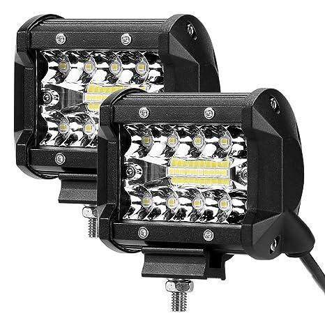LE LED Focos de Coche, 2pc 60W 4800lm 4 Pulgadas, Haz Combinado, Resistente