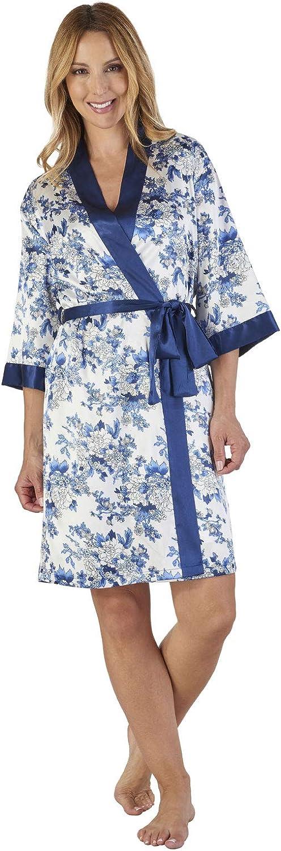TALLA S. Slenderella GL2774 Women's Floral Satin Floral Robe Loungewear Bath Dressing Gown