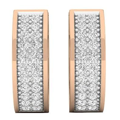 0d64dff198125 0.20 Carat (ctw) 10K Rose Gold Round White Diamond Huggies Hoop Earrings 1