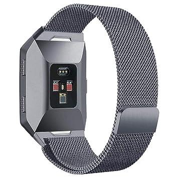 Fitbit Ionic reloj correa, PUGO TOP Milanese Loop imán pulsera de acero inoxidable correa banda
