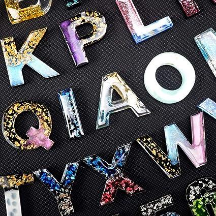 Fleymu Mold Zahlen Buchstaben Alphabet Gie/ßform DIY Schl/üsselbund Schmuck Gie/ßform Epoxidharz Formen Resin Form Geeignet f/ür Schmuckherstellung Anh/änger Halskette Ohrringe Dekoration Schmuckst/änder