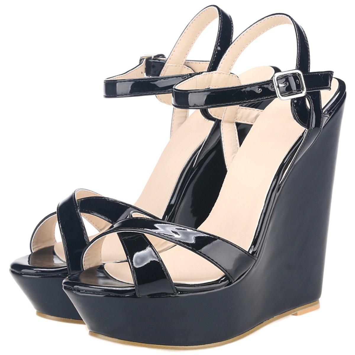 5f07cf7090c4af wealsex Sandales Plateforme Compensees Femme Cuir Vernis Bout Ouvert Bride  Cheville Boucles Chaussure Eté Bohême Elégant ...