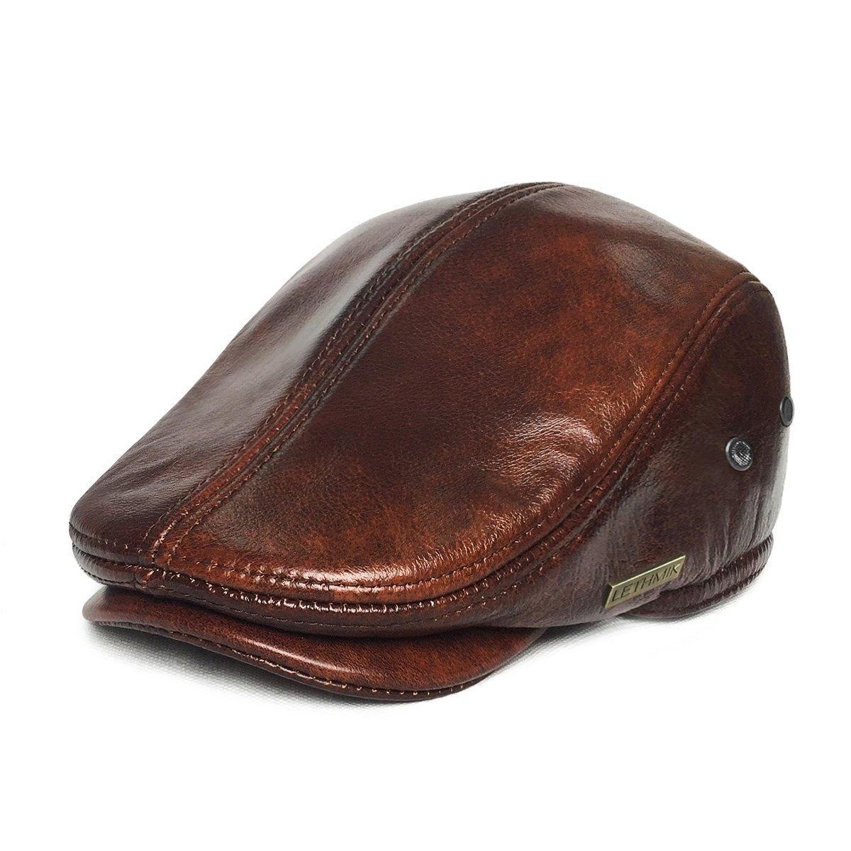 359b6a51888e62 Amazon.com: LETHMIK Flat Cap Cabby Hat Genuine Leather Vintage Newsboy Cap  Ivy Driving Cap: Clothing