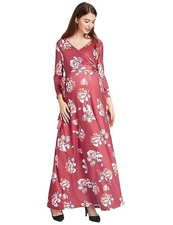 8aa0eb7c986 Kate Kasin Floral Pattern Maternity Women 3 4 Sleeve Surplice V-Neck ...