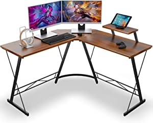 Coleshome L Shaped Desk Home Office Desk with Shelf, Gaming Computer Desk with Monitor Stand, PC Table Workstation with Shelf, Vintage