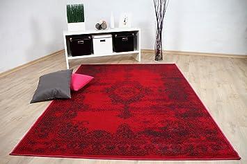 Wohnzimmer Designer Teppich Pop Vintage Orient Rot Pink In 4 Größen