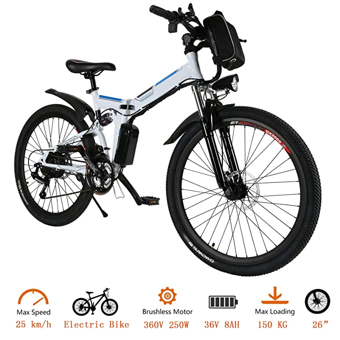 Tomasar Folding Electric Bike with 26 Inch Wheel, Lithium-Ion Battery (36V 250W), Premium Full Suspension and Shimano Gear, 2 Working Mode (US Stock)