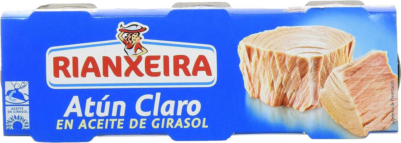 Rianxeira, Conserva de atún claro en aceite de girasol- 18 latas de 80 gr. (Total: 1440 gr.)