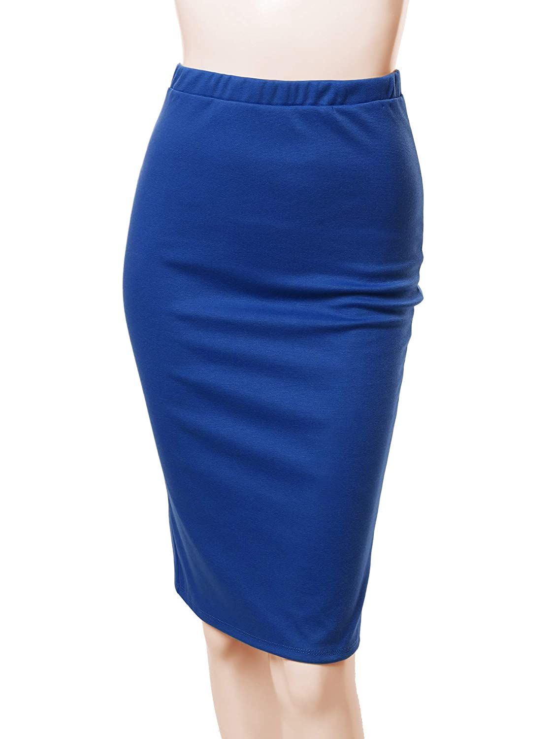 Aawskm0005 Royal bluee Awesome21 Women's Fitted Stretch Solid Print High Waist Midi Pencil Skirt  Made in USA