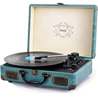 Record Player, Miric Bluetooth Record Player with Speakers, 3 Speed Belt-Drive Vinyl Turntable, Portable Record Player Suitcase for 7/10/12inch Vinyl Records, Support USB/SD Vinyl Player (Jade Blue)