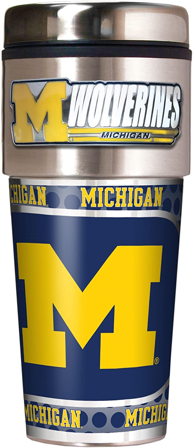 Stainless Steel and Black Vinyl Great American Products NCAA Metallic Travel Tumbler 16-Ounce