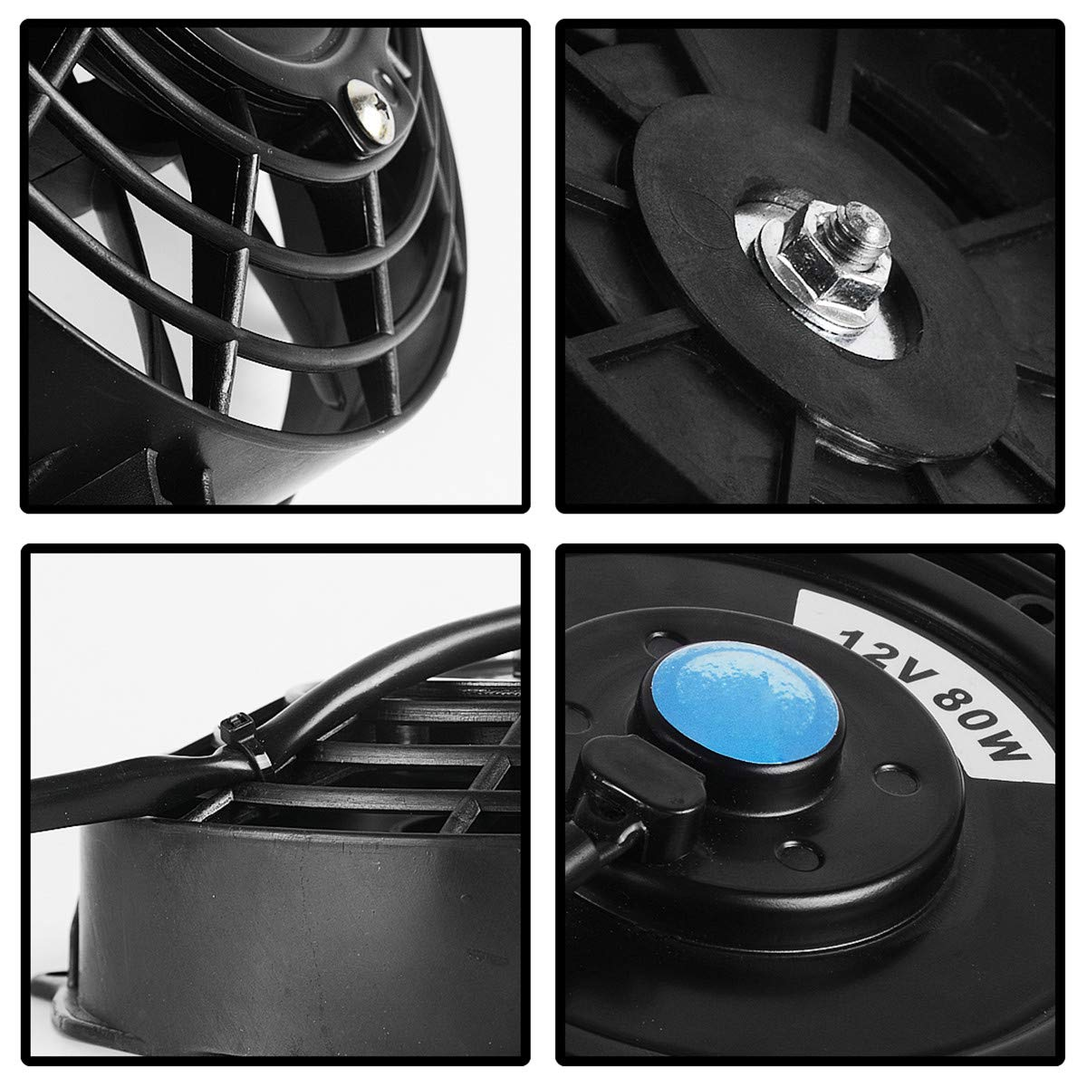Maxiii 7 Inch Radiator Cooling Fans Black Universal Pull Push Slim Reversible Electric Fan 12V 80W 1350 CFM with Mount Kit