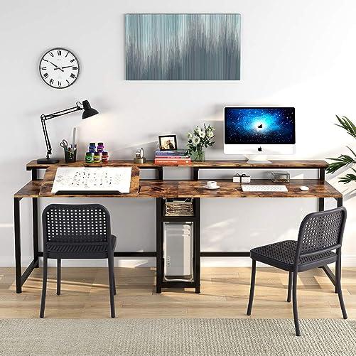 TIYASE 78.7 inch Double Computer Desk