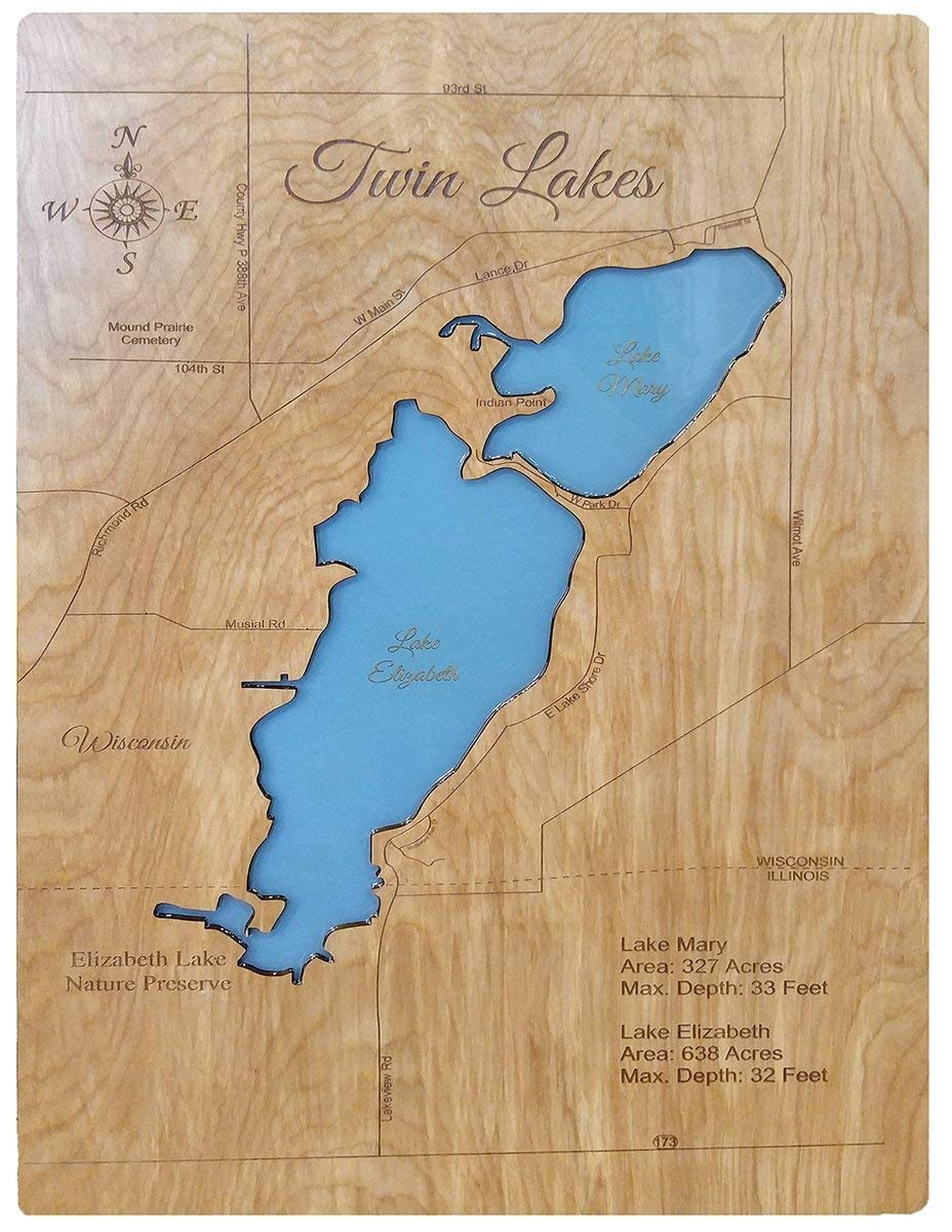 Amazon Com Twin Lakes Wisconsin Standout Wood Map Wall Hanging Handmade