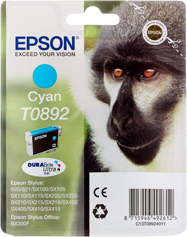 Epson T0892 Affe Wisch Und Wasserfeste Tinte Singlepack Cyan Bürobedarf Schreibwaren