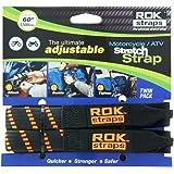 "ROK Straps ROK-10031 Black/Orange 18"" - 60"" Motorcycle/ATV Adjustable Stretch Strap"