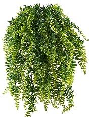 MIHOUNION Enredadera Artificial Plantas Falsa Hierba Persa Plastico Plantas Artificial Colgantes Verdes Artificiales para Exterior Interior Gancho Pared Balcón Cesta 2pcs