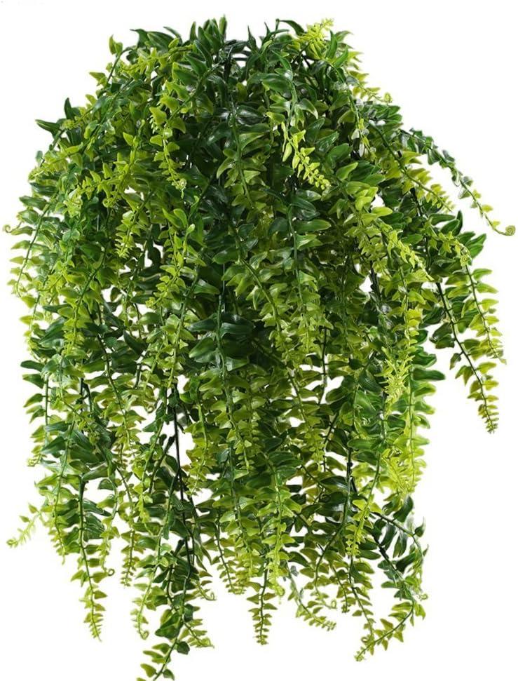 MIHOUNION 2pcs Planta Enredadera Artificial Exterior Interior Helecho de Boston Artificial Hiedra Plastico Yedra Decoracion Planta Artificial Colgante Verde para Maceta Terraza Pared Balcon Cesta