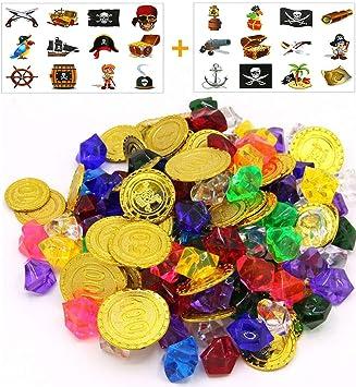 ReNice Juego de Fiesta Pirata: Monedas de Oro Pirata, Joyas de ...