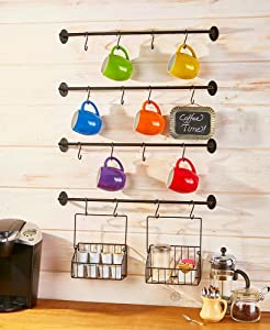 The Lakeside Collection Coffee Mug Wall Rack for Coffee and Tea Cups - Six-Piece Steel
