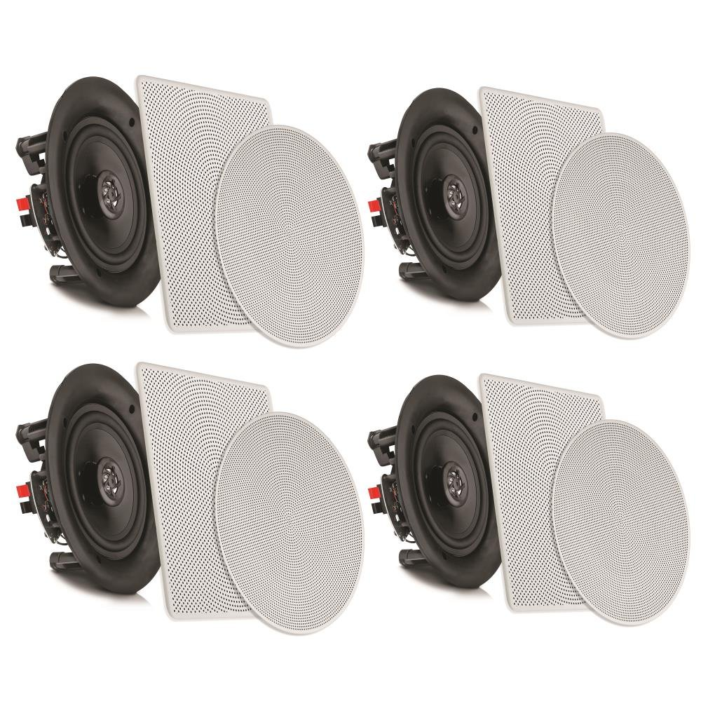 "Pyle 10"" 4 Bluetooth Flush Mount In-wall In-ceiling 2-Way Speaker System Quick Connections Changeable Round/Square Grill Polypropylene Cone & Tweeter Stereo Sound 4 Ch Amplifier 300 Watt (PDICBT2106) by Pyle"