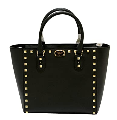 0075095bde7021 MICHAEL Michael Kors Women's SANDRINE STUD Large Shoulder Tote Leather  Handbag (Black)