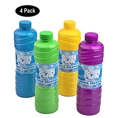 BubblePlay Bubble Solution Refill - 4 Pack Bubbles for Kids 32 OZ Bubble Solution Refill, for Bubble Wands, Bubble Machines, Fun Bubble Blowing Products, for Ages 3+: Toys & Games