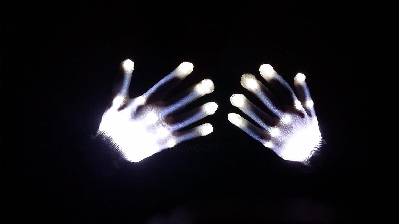 Electro LED Finger Flashing Gloves Light Up Halloween Dance Rave Party Toys