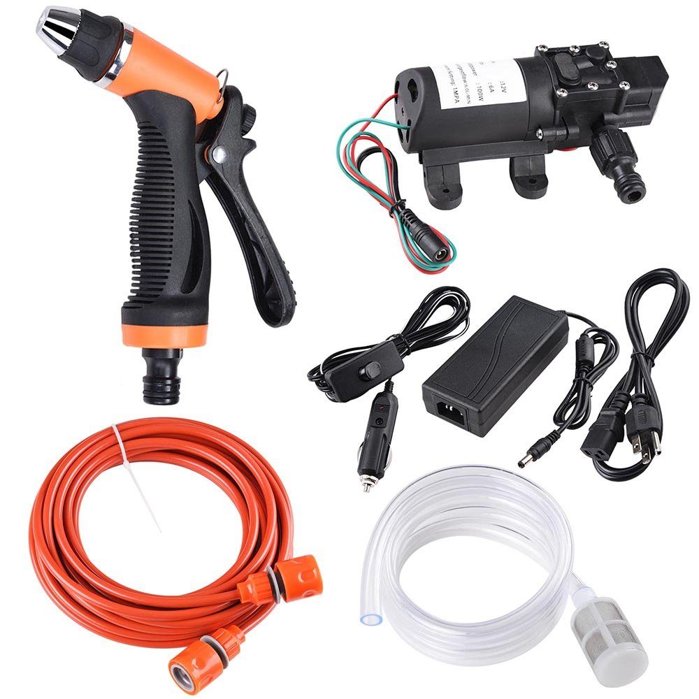 Yescom 12V 100W 160PSI Auto Wash Gun Pump High Pressure Car Electric Cleaner Washer Kit with Charger and Adapter