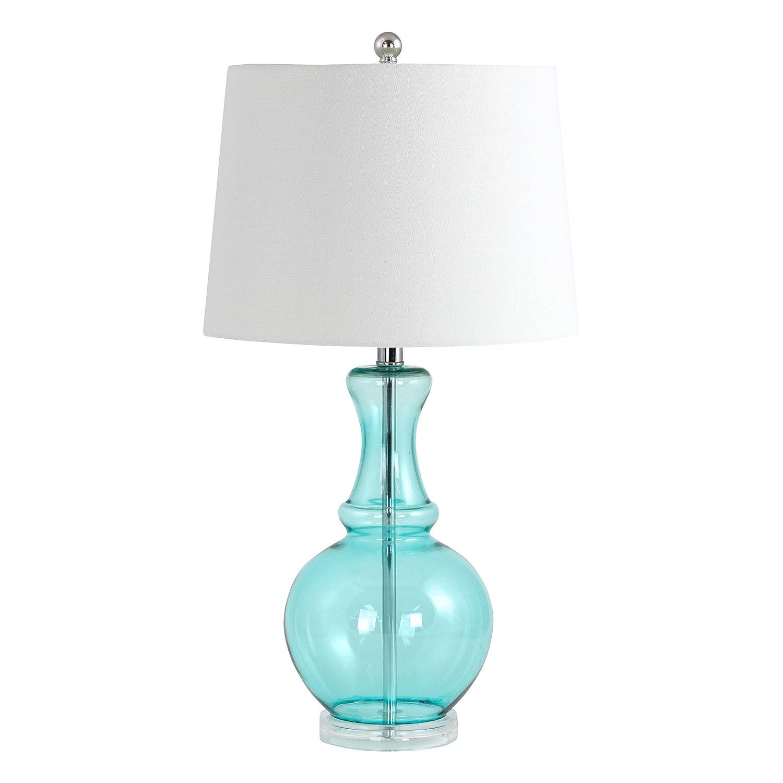 Amazon Com Aspire Sabine Teal Glass Table Lamp Home Kitchen
