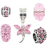Silver Pink Charms Bead Set Of 5 For Pandora Troll Chamilia Style Charm Bracelets Truly Charming