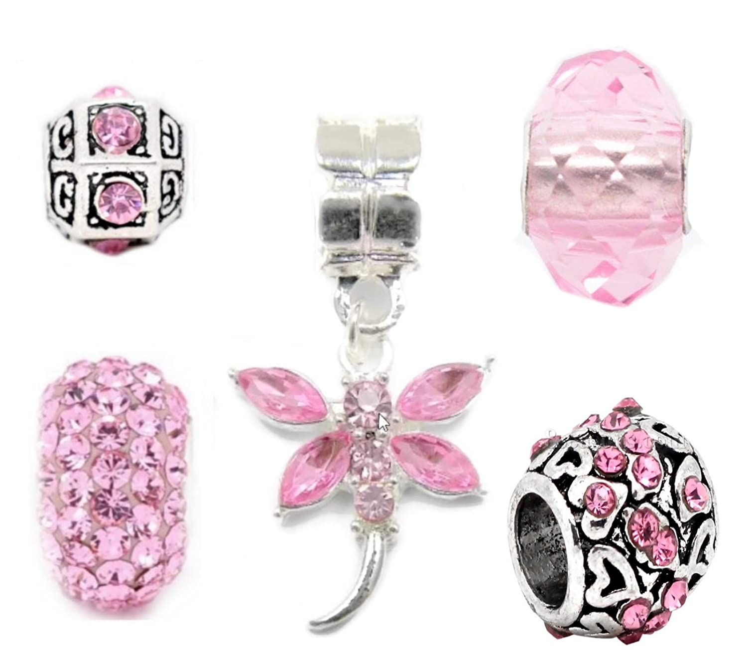 c42be5889 ... low price truly charming silver pink charms bead set of 5 pandora troll  chamilia style charm