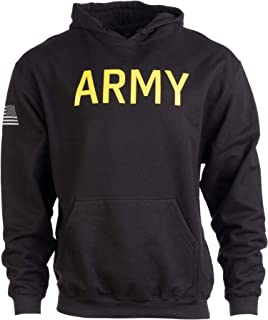 Men/'s Black /& Gold Military Embroidered ARMY Pullover Hoodie Sweatshirt S-3XL