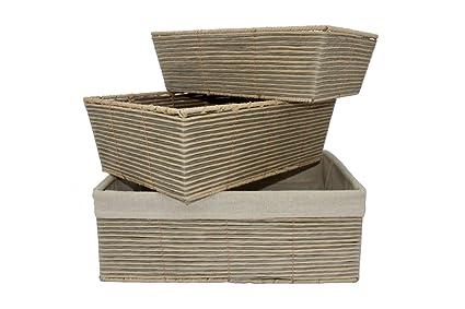 Superbe Decorative Nesting Woven Paper Rope Storage Basket Set Of 3 (grey U0026 Beige,  Paper