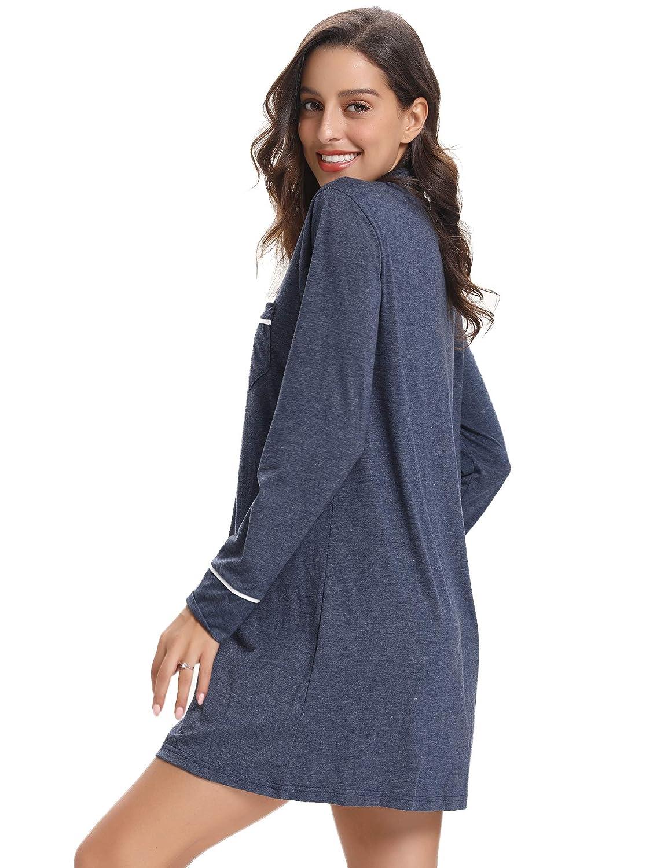 3 Farbe S Aibrou Damen Baumwolle Mittellanges Langarm Nachthemd Boyfriend-Look Reverskragen Sleepshirt XL
