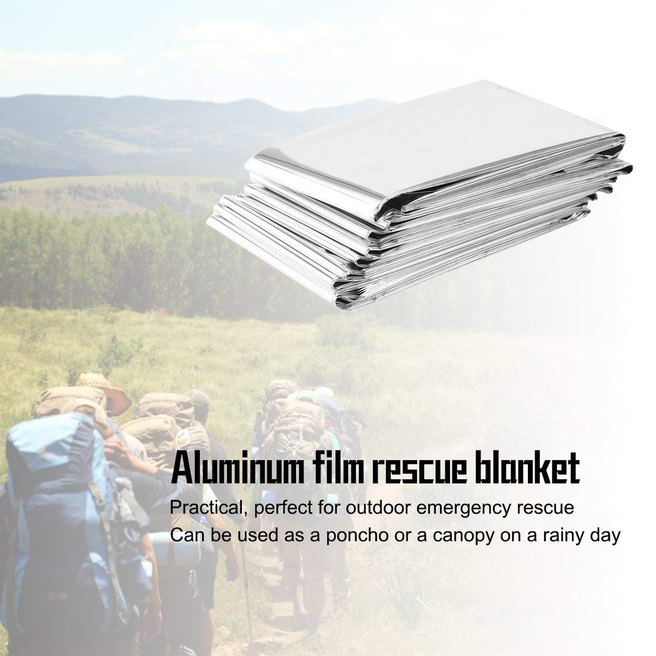 silver Jasnyfall Waterproof Disposable Outdoor Military Survival Emergency Rescue Space Foil Thermal Blanket First Aid Sliver Curtain