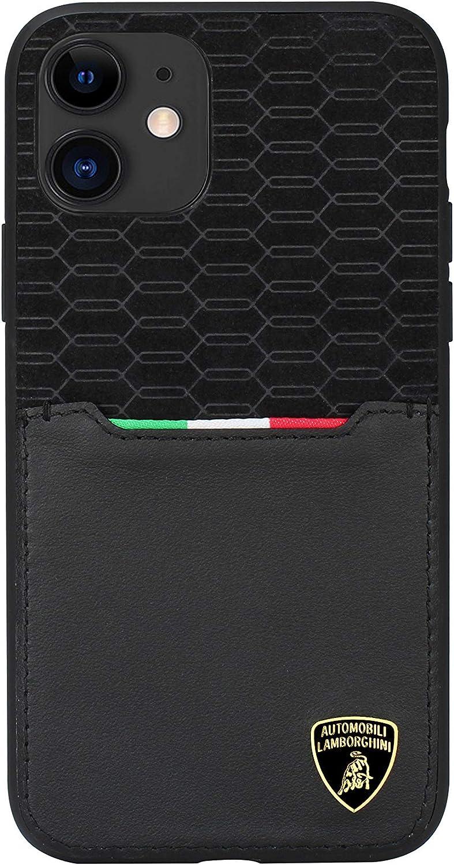 Automobili Lamborghini Official Licensed Urus D8 Genuine Leather Back Case for iPhone 11 6.1'' (Black)