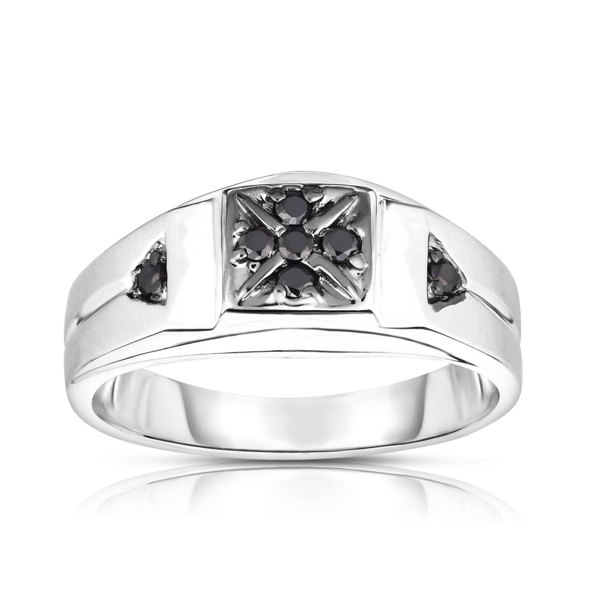 Noray Designs 14K Gold Black Diamond (0.14 Ct, I1-I2 Clarity, Black Color) Men's 7-Stone Ring