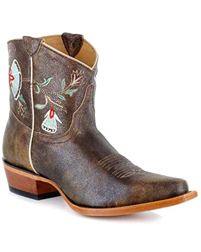 4209905a3d Shyanne Women's Floral Embroidered Western Booties Snip Toe Brown 6.5 ...