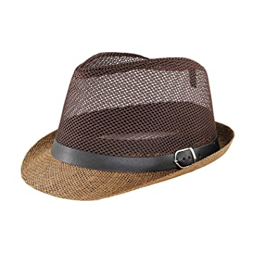 eaedf0762 Summer Solid Unisex Grid Fashion Sun Hat for Men Casual Paper Summer Hats  Fun-Store
