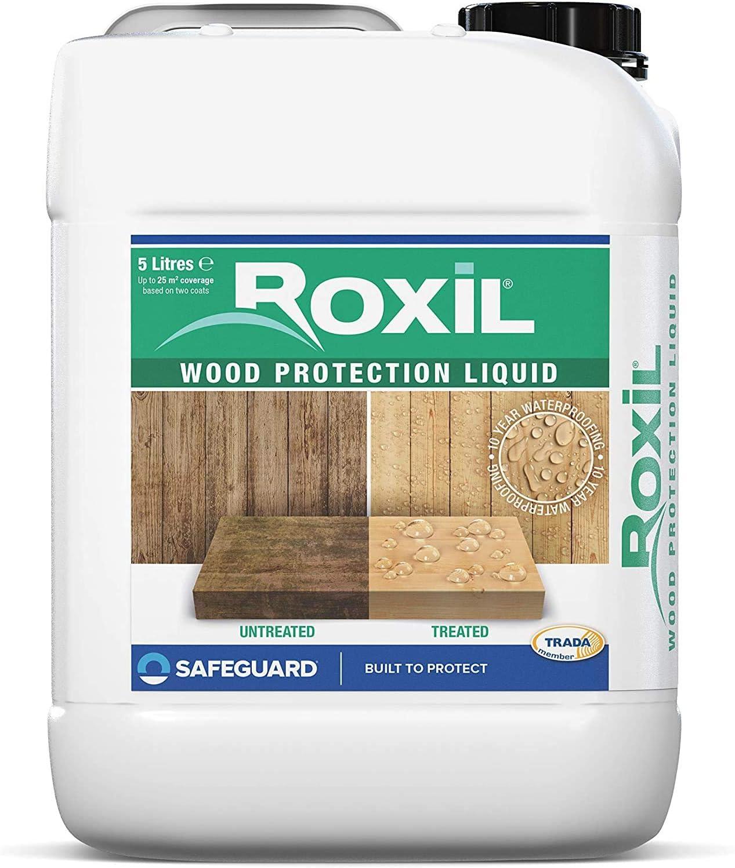 Roxil Tratamiento de Fondo para Madera Exterior - Proporciona 10 Años de Protección (5 Litros)