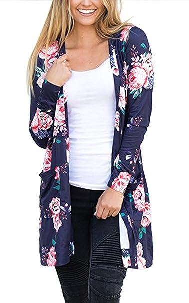 Mujer Cardigans Ropa de abrigo Abrigos Suéter Sudaderas Otoño Invierno Jersey Top de punto Estampado Manga larga Pullover: Amazon.es: Ropa y accesorios