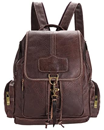 Amazon.com | Coofit Brown Women's Synthetic Leather Backpack Purse ...