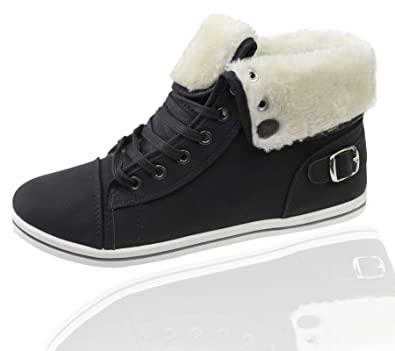 KOLLACHE Womens Fur Lined Boots High Top Ankle Black Trainer Sneaker Pumps  Plimsole Shoes EU 36 3274b7c59